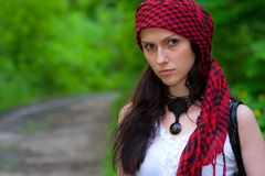Girl in a red kerchief Stock Photography