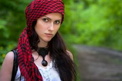 Girl in a red kerchief Royalty Free Stock Photography