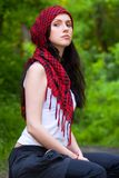 Girl in a red kerchief Royalty Free Stock Images