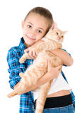 The girl with a red kitten Stock Photo