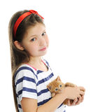 Girl with red kitty Stock Photos
