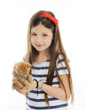 Girl with red kitty Stock Images