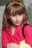 Girl in red knitted jacket Royalty Free Stock Photos