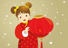 Girl with Red Lantern Royalty Free Stock Photography