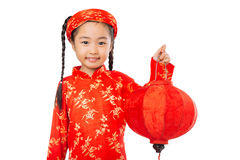 Girl with red lantern Stock Images
