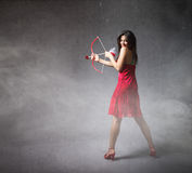 Girl in red lateral view Royalty Free Stock Photo