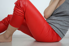 Girl in red leggings Royalty Free Stock Photography