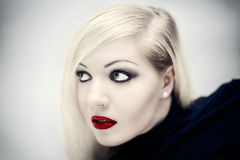 Girl with red lips royalty free stock photography