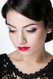 Girl with red lips Stock Photos