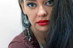 Girl with red lips Stock Photography