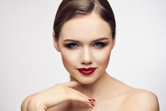 Girl with red lips looking foxy Stock Photography