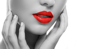 Girl with red lipstick Royalty Free Stock Photos