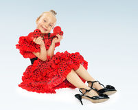 Girl in red Stock Images