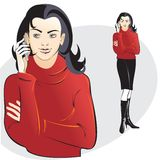 Girl in red with mobile phone Royalty Free Stock Image