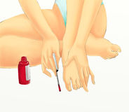 Girl with red nail polish. Illustrated girl with red nail polish showing hands and feet Stock Photo