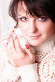 Girl with red nails Royalty Free Stock Images