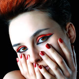 A girl with red nails. Portrait of a girl with red nails Stock Photo