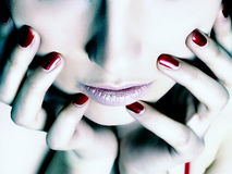 girl with red nails Royalty Free Stock Photo