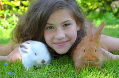 Girl with the red New Zealand and California rabbits Stock Photo