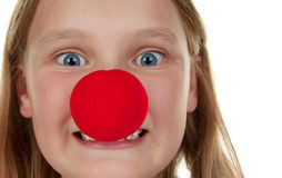 Girl with red nose Stock Photography