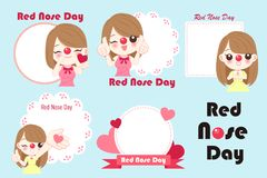 Girl with red nose day. On the blue background Stock Photos