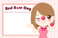 Girl with red nose day. On the blue background Royalty Free Stock Image