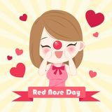 Girl with red nose day. On the yellow background Stock Photo