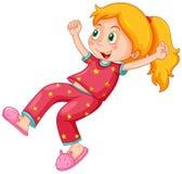 Girl in red pajamas. Illustration Royalty Free Stock Photos