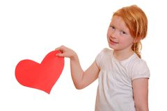 Girl with red paper heart Stock Image