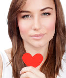 Girl with red paper heart Royalty Free Stock Photos