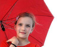 Girl with red parasol Royalty Free Stock Photography