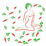 Girl red pepper of Chile Stock Image
