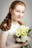 Girl with Red plait Stock Images