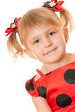 Girl in red polka dot dress Royalty Free Stock Image