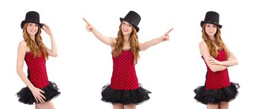 The girl in red polka-dot dress isolated on white Royalty Free Stock Photo