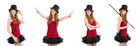 The girl in red polka-dot dress isolated on white Royalty Free Stock Photography