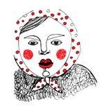 Girl red polka dot stock illustration