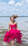 Girl in red prom dress Royalty Free Stock Photo