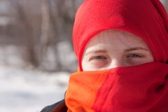 Girl in red purdah Royalty Free Stock Images