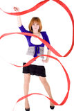 Girl with red ribbon Stock Photos