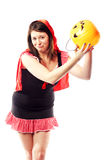 Girl in red riding hood costume no more treats Royalty Free Stock Image