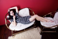 Girl in red room Royalty Free Stock Photos