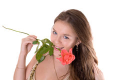 Girl with a red rose Stock Images