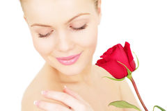 Girl with a red rose Royalty Free Stock Images