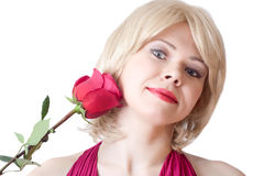 Girl with a red rose. On white background Stock Images