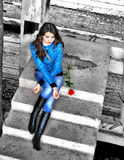 Girl with a red rose Stock Photo