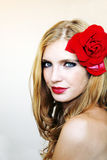 Girl with a red rose 2 Stock Photos