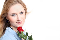 Girl with red rose Stock Images
