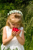 Girl with red rose. Adorable blond little girl with flower headband smelling red rose held in hands Royalty Free Stock Image