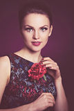 Girl with a red rose Royalty Free Stock Photo
